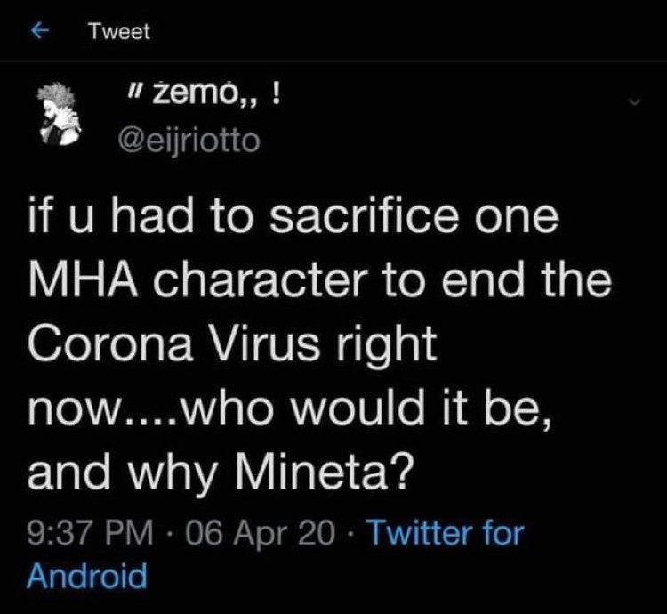 I had to sacrifice one MHA character, why would it be Mineta? - Twitter My Hero Academia meme