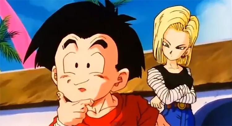 Krillin and Android 18 Dragon Ball Z anime screenshot