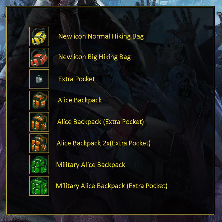 Many Backpacks Mod Project Zomboid screenshot