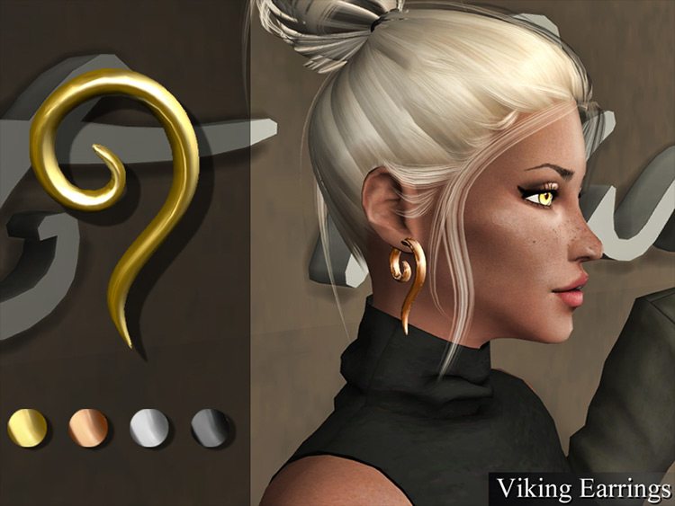 Viking Earrings CC for Sims 4