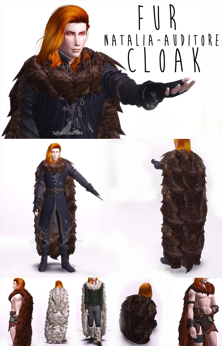 Fur Cloak Sims 4 CC screenshot