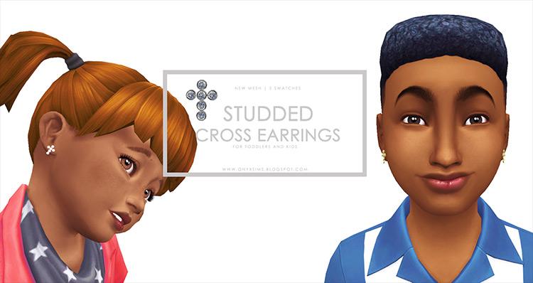 Diamond Studded Cross Earrings Sims 4 CC