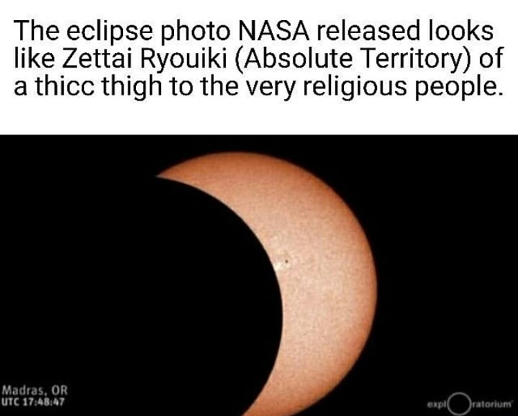 NASA eclipse looks ike zettai ryoiki meme
