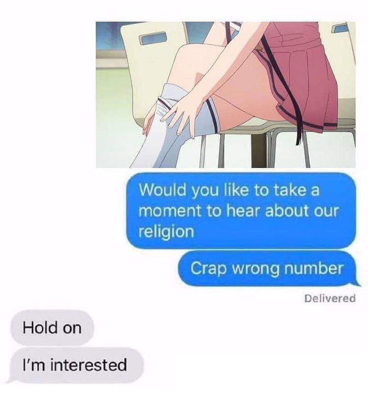 Wrong number text - zettai ryoiki religion meme