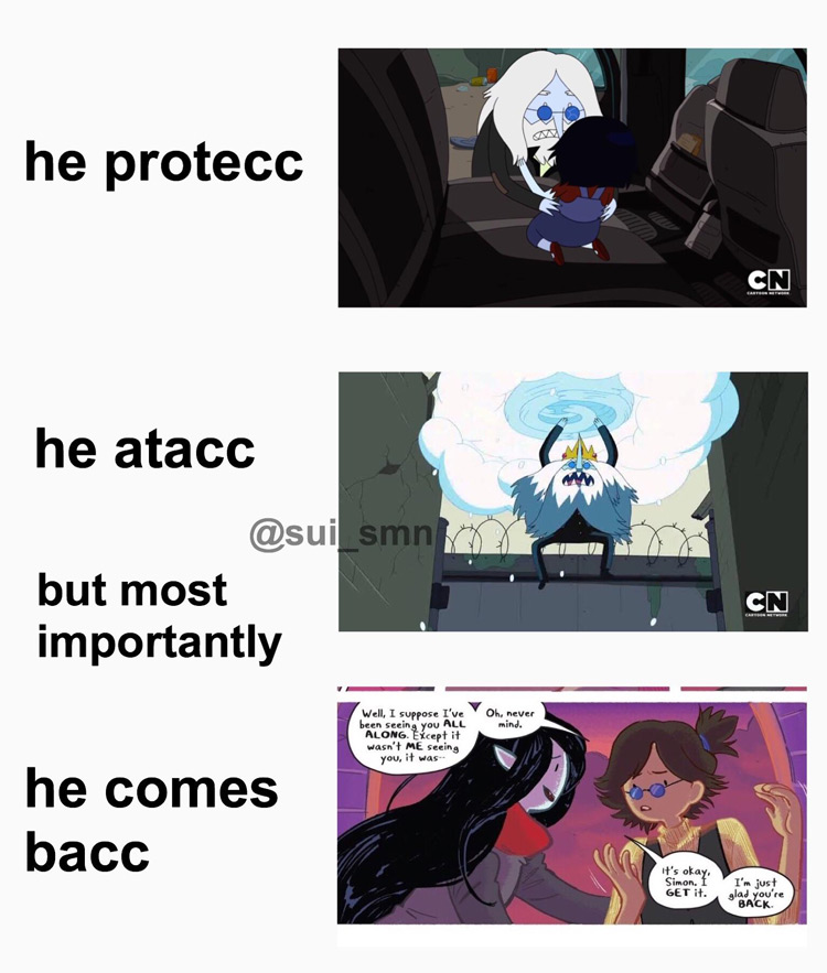 He protecc, He attac, Ice King meme