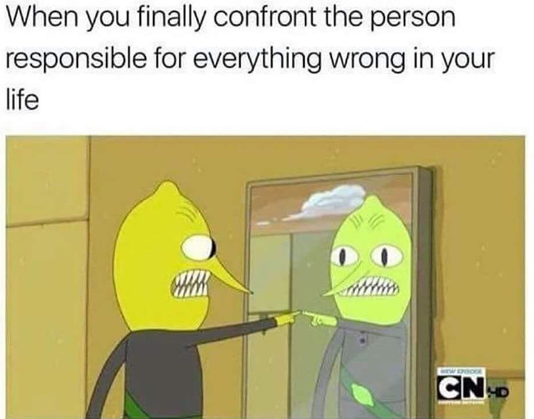 Confronting myself Lemongrab meme