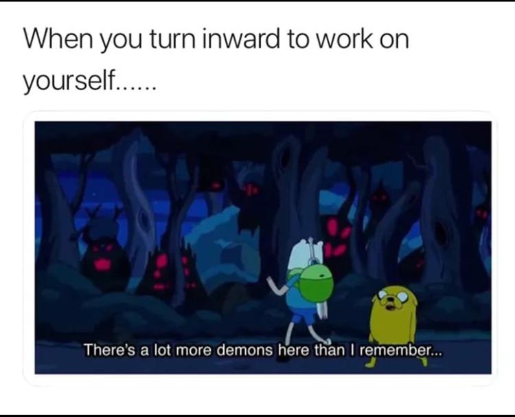 When you turn inward to work meme