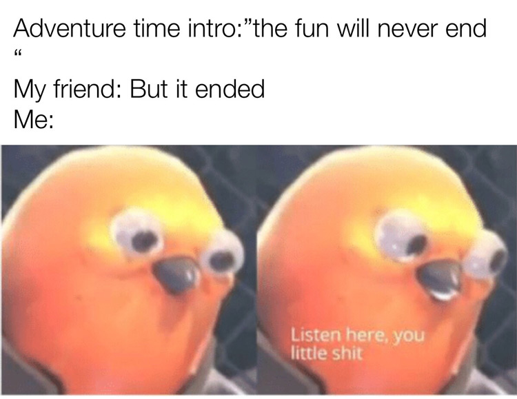 Adventure time ends - Listen here you little shit meme