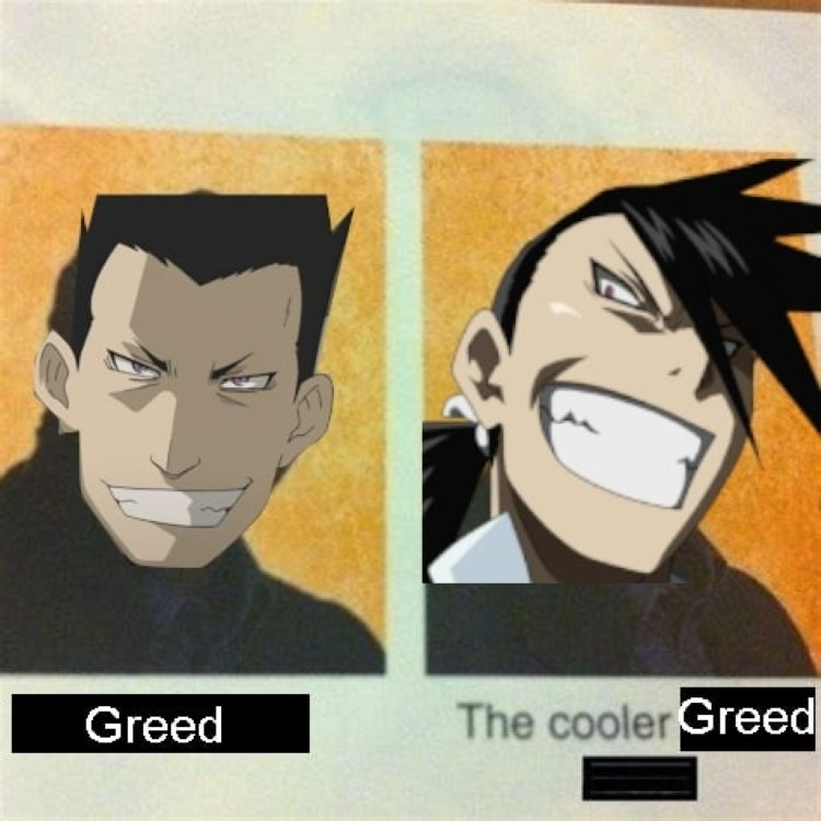 Greed and the cooler Greed Fullmetal Alchemist meme