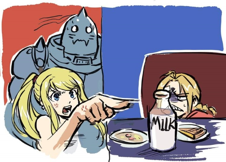 Winry and Ed, Al Elric meme