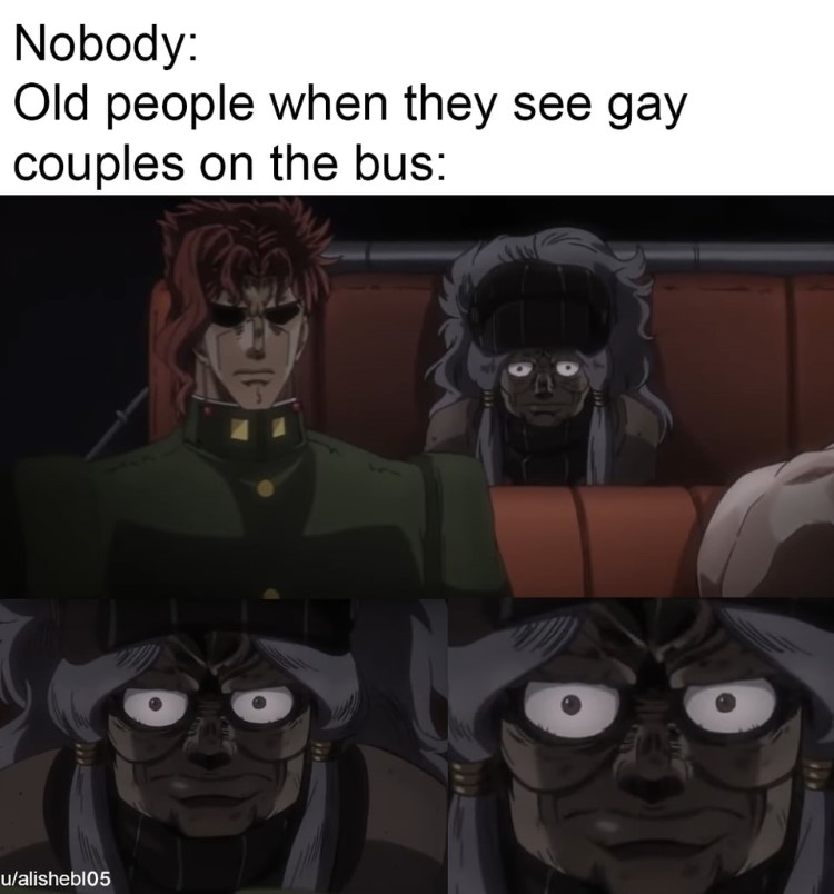 Old people when they see couples on the bus meme