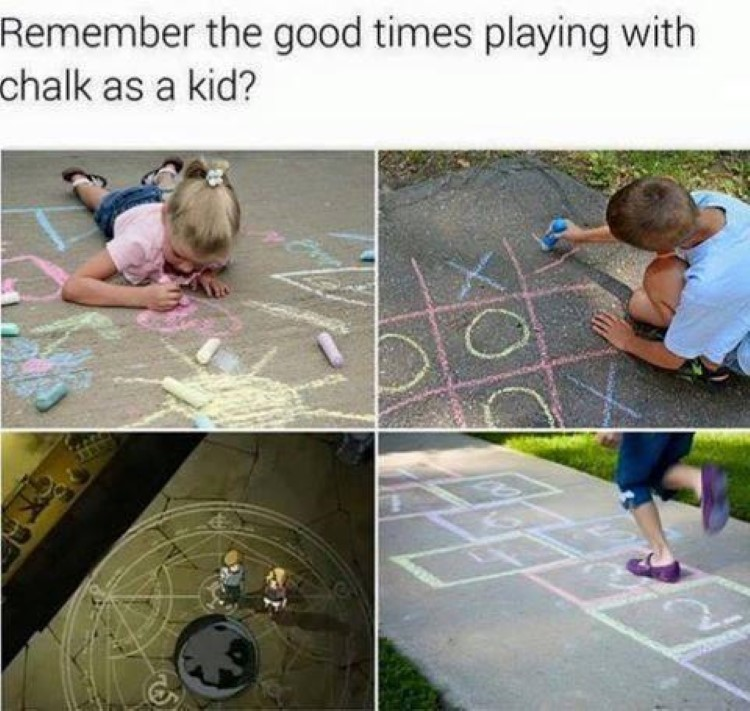 Remember playing with chalk as a kid? Ed and Al Elric