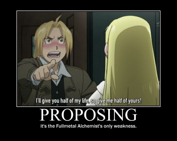 Proposing is the Fullmetal Alchemists only weakness