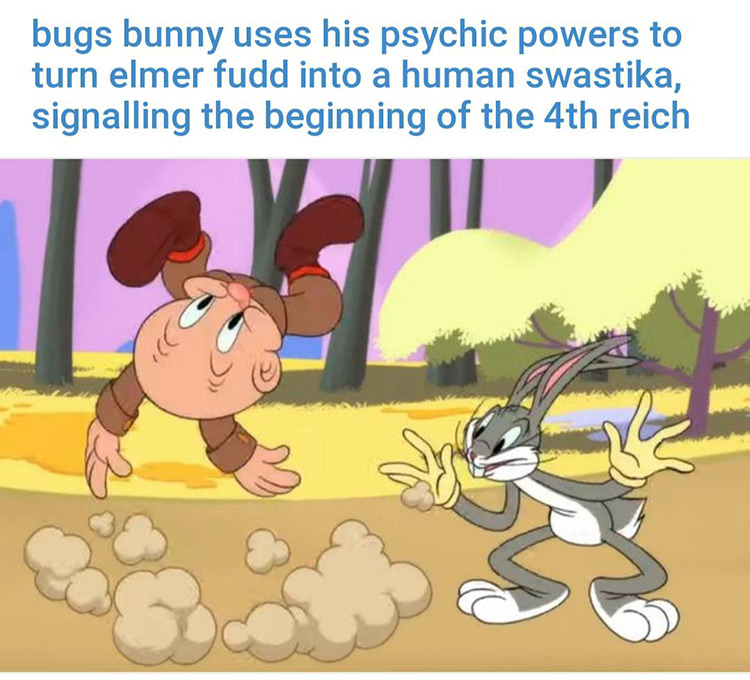 Bugs using psychic powers on Elmer Fudd