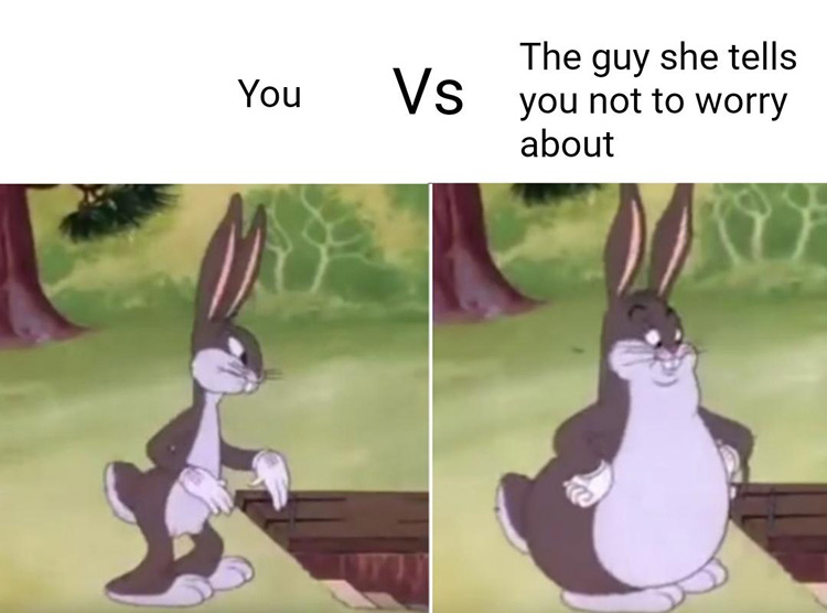 You vs the guy she tells you not to worry about - Bugs meme