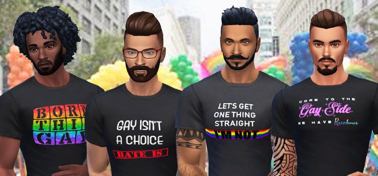 Sims 4 LGBT pride shirts CC