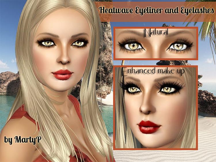 Heatwave Eyelashes and Eyeliner Sims 3 CC