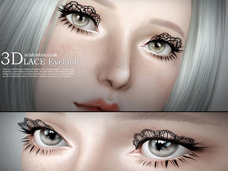 3-D Lace Eyelashes Sims 3 CC