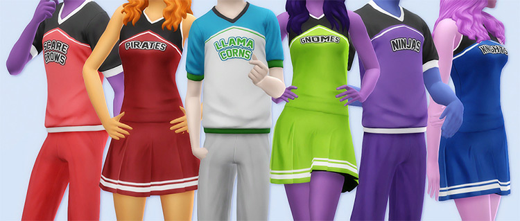 Berry Sweet Cheerleading Uniforms for Sims 4