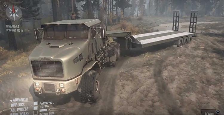 Oshkosh M1070 HET Truck Mudrunner Mod
