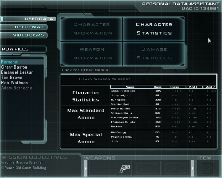 Doom 3: Evolution Mod Character menu screenshot