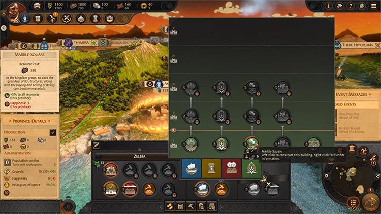 Total War Saga: Troy Game building menu