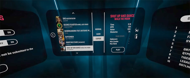 Shut Up and Dance Beat Saber song selection menu screenshot