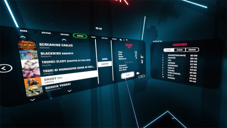 Daddy – PSY Beat Saber song selection menu screenshot
