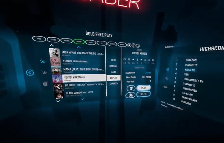 YoiYoi Kokon – REOL Beat Saber song selection menu