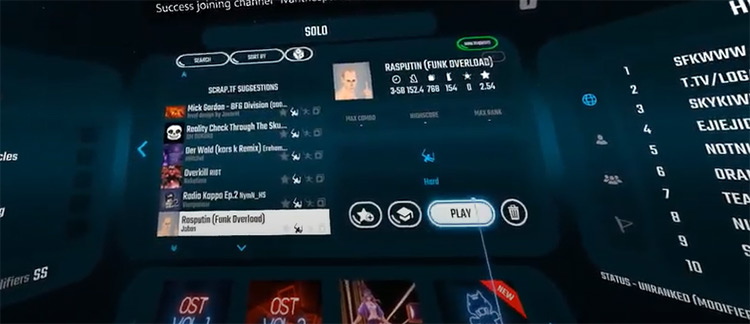 Rasputin Beat Saber song selection menu
