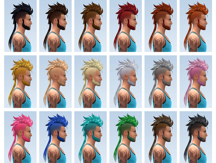 Mohawk and mullet-style hairdo for Sims 4