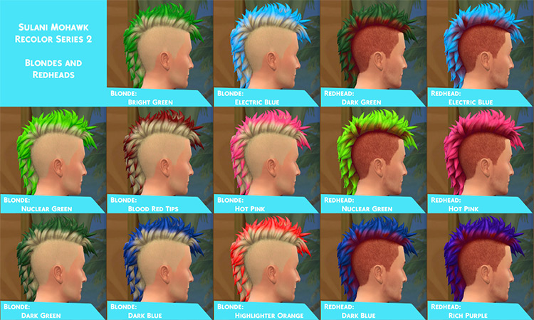 Sulani Mohawk Dip Dye Colors - Hair Mod