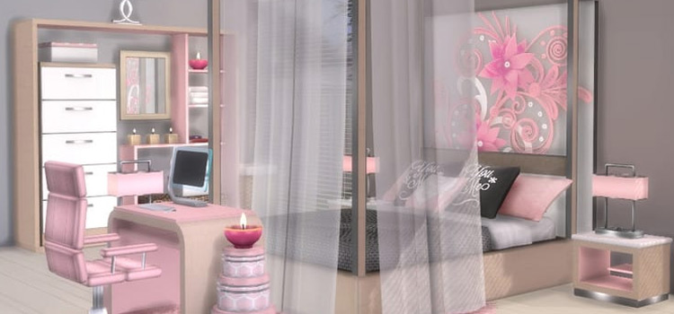 Sims 4 CC - Teen Bedroom with Canopy Bed
