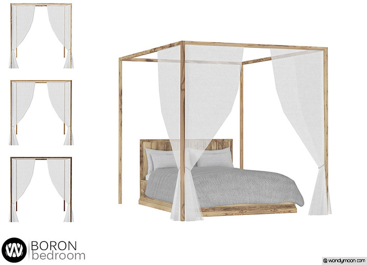 Boron Double Bed Canopy for Sims 4