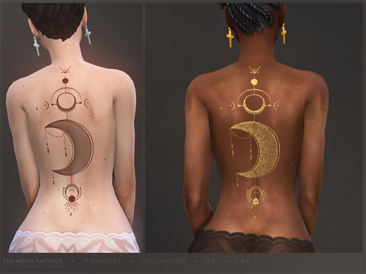 Moon Tattoos CC Pack for Sims 4