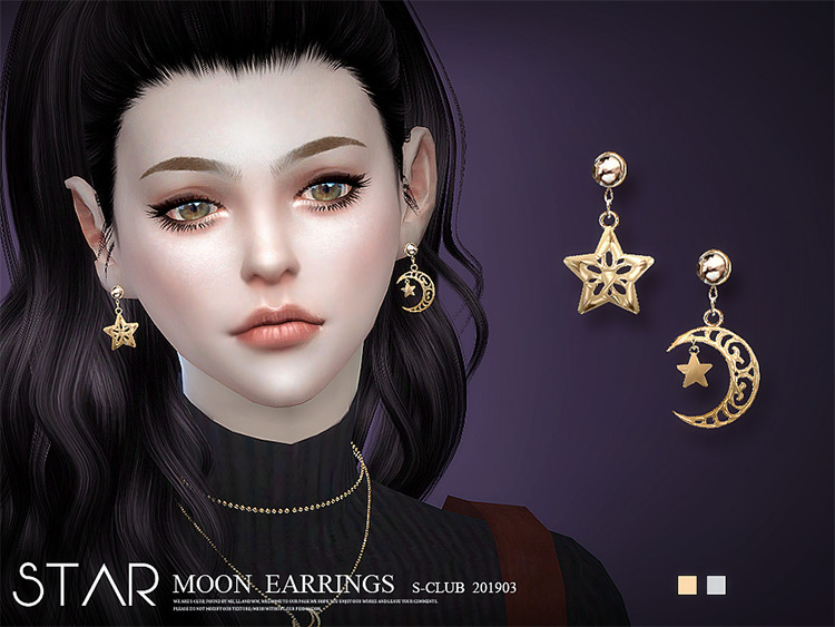 Star Moon Earrings CC for Sims 4