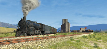 Train running on tracks - Derail Valley HD
