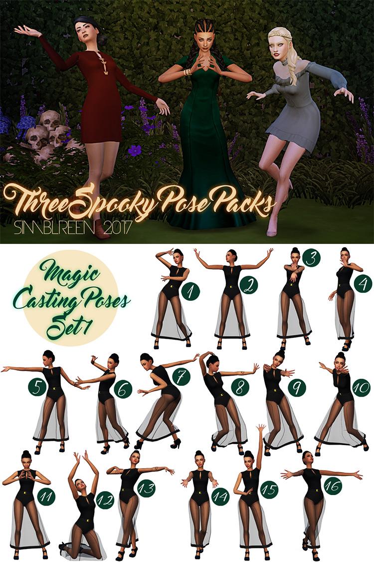 Magic Casting Poses + Casting Group Pose Sims 4 CC