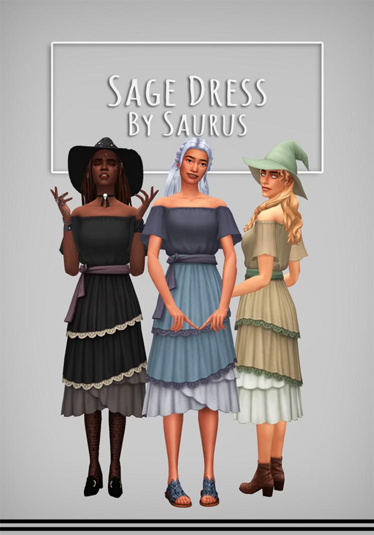 Sage Dress + Thyme Dress Sims 4 CC