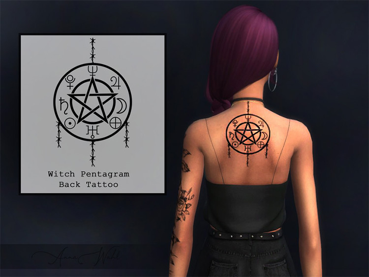 Witchcraft Tattoo + Witch Pentagram Back Tattoo Sims 4 CC