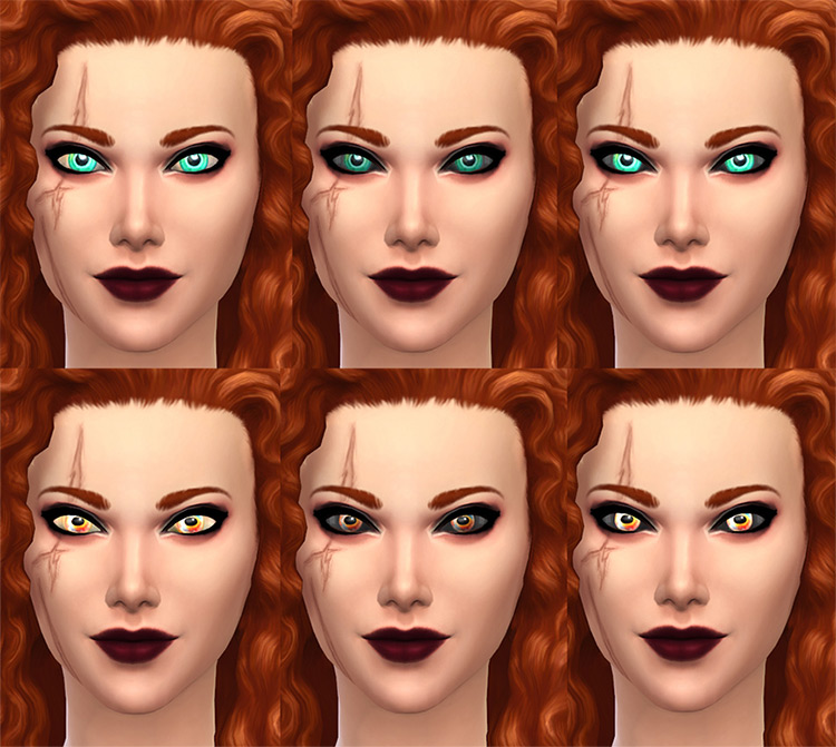 Mermaid Eyes with Glow, BlackSclera, Glow+BlackSclera by Merkaba for Sims 4