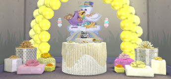 Yellow Balloon Arch with Presents - Sims 4 Baby Shower