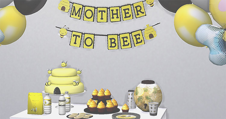 Bee Baby Shower Set The Sims 4 CC
