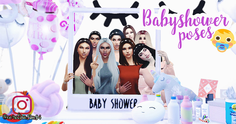 Baby Shower Poses Package Sims 4 CC