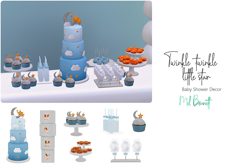 Twinkle Twinkle Little Star Baby Shower Décor Sims 4 CC
