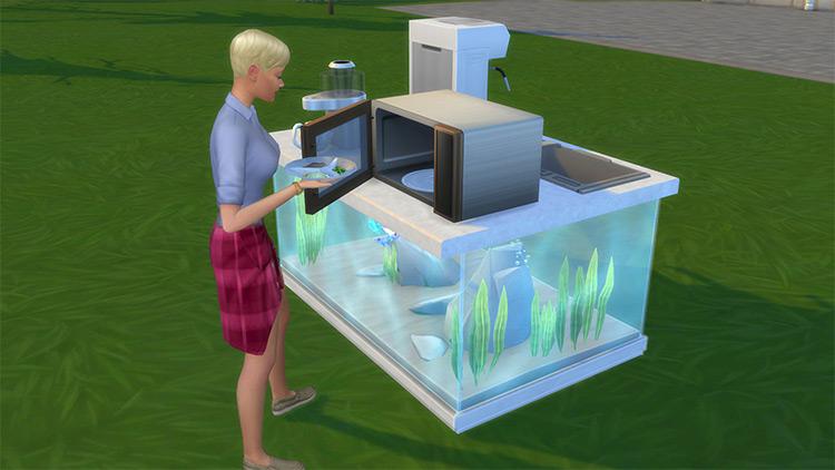 Aquarium Counter Island Base Sims 4 CC