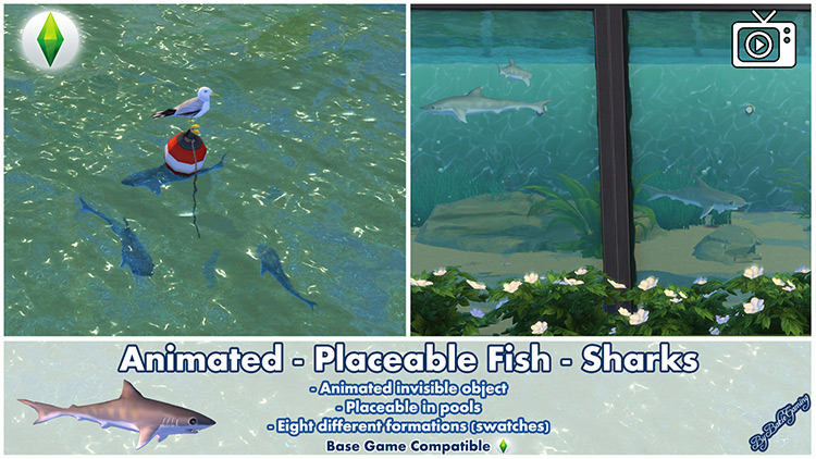 Placeable Fish – Sharks Sims 4 CC