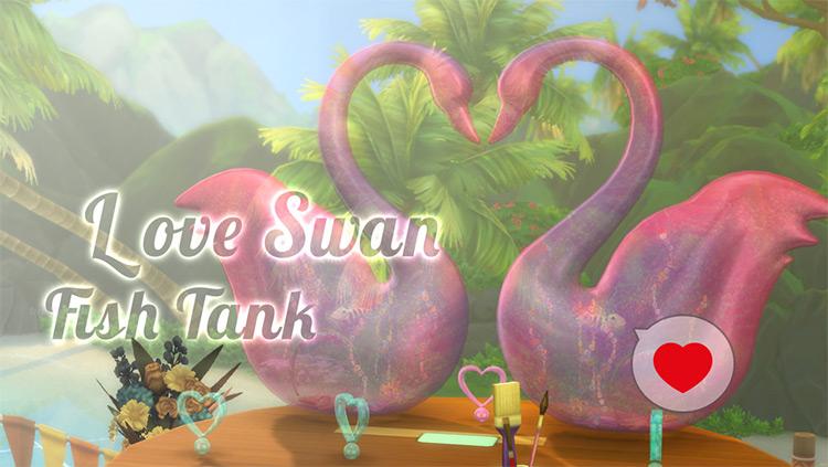 Love Swan Fish Tank for Sims 4