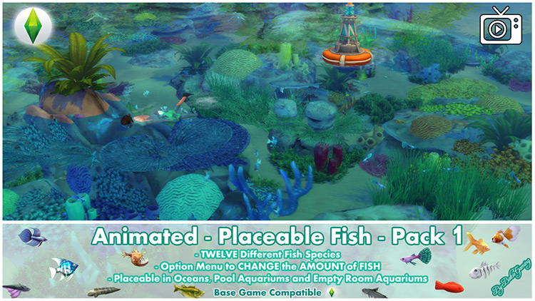 Placeable Fish Pack 1 for Sims 4