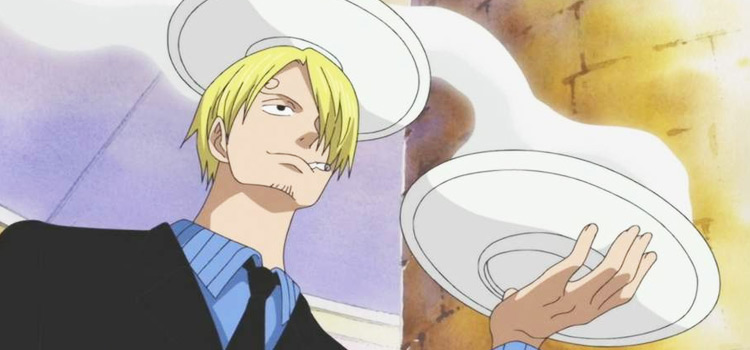 Sanji from One Piece holding food plates